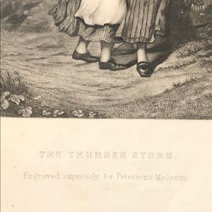 """Vintage Wall Art - THE THUNDER STORM 8.75"""" x 6"""" - Antique Engraving"""